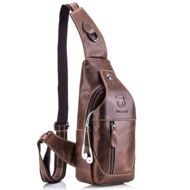 Men Genuine Leather Sling Bag Casual Shoulder Chest Crossbody Bag Hiking Travel Daypack