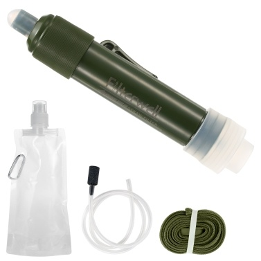 Outdoor Water Filtration System Water Filter Straw Purifier with Drinking Pouch for Emergency Preparedness Camping Traveling Backpacking