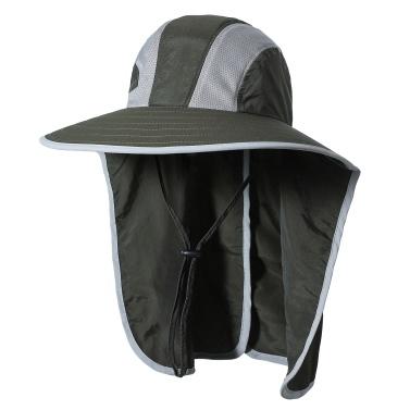 Chapeau de soleil à large bord avec rabat de cou Hommes Femmes Protection UV Chapeau de soleil pour Camping Randonnée Pêche