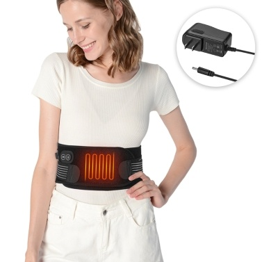 Massaging Waist Heating Pad Portable Heating Waist Belt Far Infrared Heating Massage Waist Belt for Abdominal Back Pain Relief with UK/US/EU Adapter