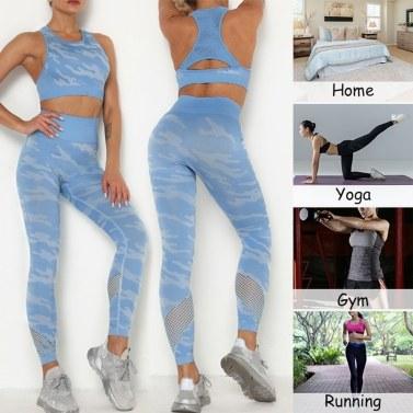 Women Camouflage Yoga Set 2-Piece Bra Tights Suit Crop Top High Waist Leggings Sports Wear