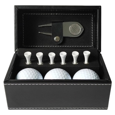 11 PCS Golf Gift Set with 6 Golf Tees 3 Golf Balls Divot Repair Tool Leather Box   Set Golf Trainning Accessories