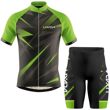 Lixada Men Cycling Jersey Breathable Short Sleeve Bike Shirt and Padded Shorts MTB Bicycle Clothing Suit