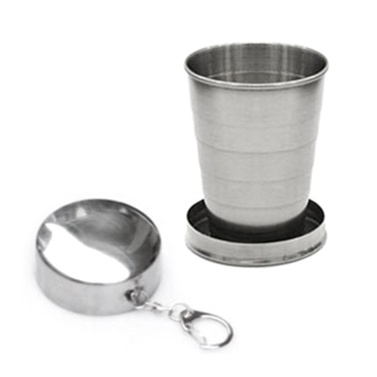 Collapsible Cup Stainless Steel Folding Cup with Keychain for Outdoor Travel Camping Hiking Fishing