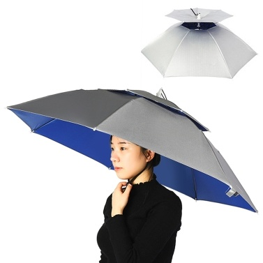 Double Layer Umbrella Hat Women Men Folding Sun Rain Cap with Adjustable Head Band for Fishing Camping Hiking