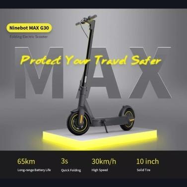 "Ninebot MAX G30 Kickscooter Foldable Smart Electric Scooter 10"" Wheel 30km/h 65km Range Dual Brake Hoverboard 36V Range Quick Folding"