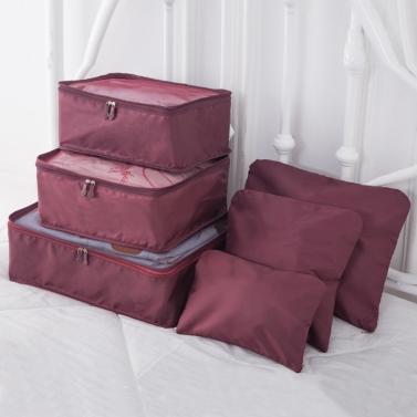 6 teile / satz Leichte Gepäck Reisetaschen Männer und Frauen Verpackung Cubes Organizer Kompression Beutel