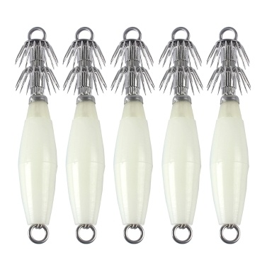 5pcs Luminous Lifelike Squid Hooks Fishing Jig Lures Artificial Hard Baits