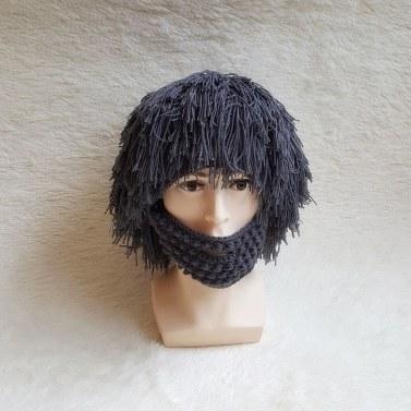Wig Beard Hats Hobo Mad Scientist Caveman Handmade Knit Warm Winter Caps