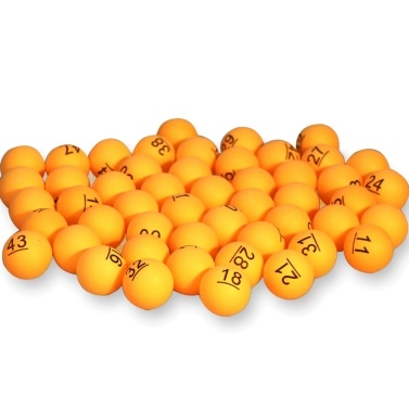 50Pcs Number Printed Ping Pong Balls 40mm Colored Raffle Balls Entertainment Table Tennis Balls for Game and Advertising