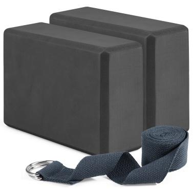 2 Pack Yoga Blocks and Yoga Strap Set Non-Slip EVA Foam Fitness Blocks for Yoga Pilates Fitness Training
