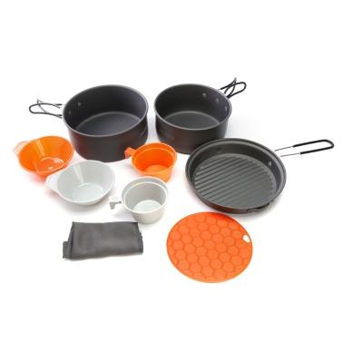 ALOCS 9Pcs Cooking Set Freien beweglicher Camping Wandern Picknick Geschirr Pot Pan Bowl Cup
