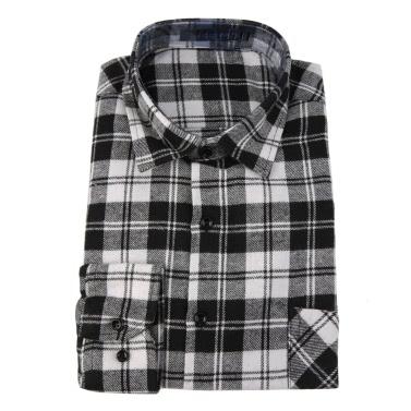 Mode-Männer Knopf-kariertes Hemd Langarm Flanell Plaid-beiläufiges Hemd DMM01