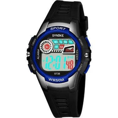 SYNOKE 9738 Kinderuhr Sportuhr Leucht Alarm Digital Wasserdicht Armbanduhr Kind Uhr