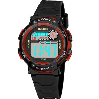 SYNOKE 9748 Kinderuhr Sportuhr Leucht Alarm Digital Wasserdicht Armbanduhr Kind Uhr