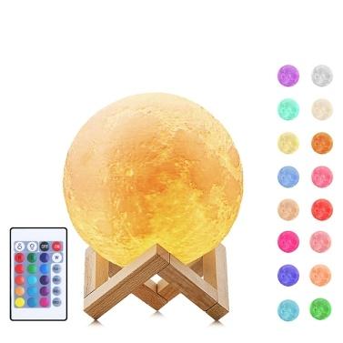 51% de réduction pour 16 couleurs Impression LED 3D Moon Light Lunar Night Lamp (12CM) seulement € 11,46 sur tomtop.com + livraison gratuite
