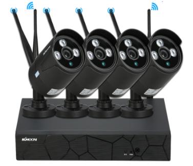 KKmoon 4 Kanal Wireless WiFi NVR CCTV System Kit + 4ST HD 720P WiFi Outdoor wetterfeste Kugel IP Kamera Unterstützung P2P IR Nachtsicht für Android / iOS APP Bewegungserkennung für CCTV Security Surveillance System