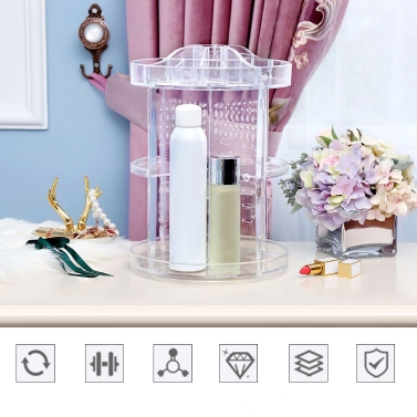 360° Rotatable Detachable Cosmetic Makeup Organizer Holder Round Storage Box
