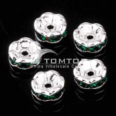 10pcs EMERALD GREEN CRYSTAL SPACER BEADS FINDINGS jlm73