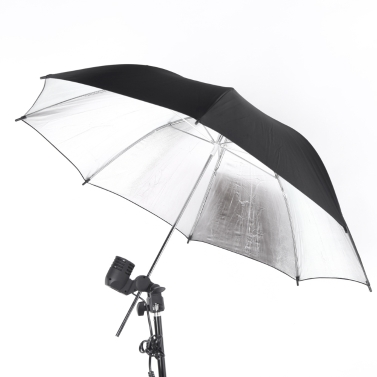 83cm 33in Studio Photo Strobe Flash Light Reflector Black Silver Umbrella