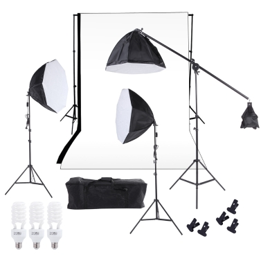 Estúdio de Fotografia Studio Softbox Photo Light Muslin Backdrop Stand Kit