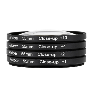 Andoer 55mm Macro Close-Up Filter Set +1 +2 +4 +10 Pouch Nikon Canon Tamron Sigma Sony Alpha A200 A450 A300 DSLRs