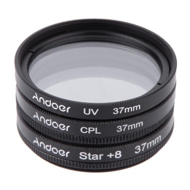 37mm Filter Satz UV + CPL + Stern 8-Punkt-Filter Kit mit Tasche für Canon Nikon Sony DSLR-Kamera-Objektiv