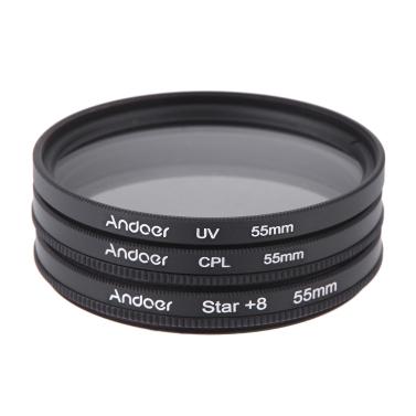 55mm Filtersatz UV + CPL + Stern 8 Punkt Filter Kit mit Tasche für Canon Nikon Sony DSLR Kamera Objektiv