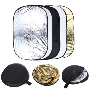 """Andoer 24"""" * 36"""" / 60 * 90cm 5 in 1 (Gold, Silver, White, Black, Translucent) Multi Portable Collapsible Studio Photo Photography Light Reflector"""