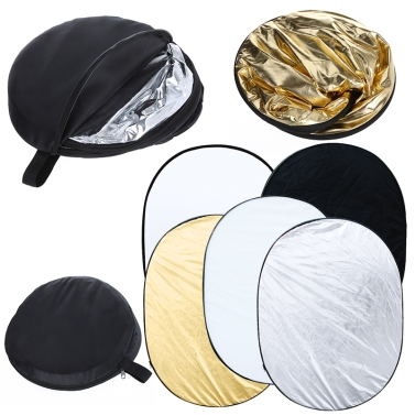 """Andoer 35"""" * 47"""" / 90 * 120cm Oval 5 in 1 (Gold, Silver, White, Black, Translucent) Multi Portable Collapsible Studio Photo Photography Light Reflector"""
