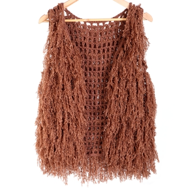 Women Hollow Tassels Vest Knitted Sweater
