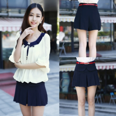 New Fashion Women Chiffon Shorts Pleated Layer Mini Culottes Short Pants Dark Blue