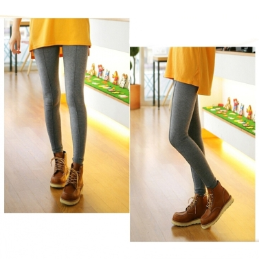 New Fashion Women Leggings Middle Line Design Solid Color Slim Casual Long Pants Blue