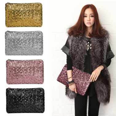 Fashion Women Clutch Bag Dazzling Sequins Glitter Sparkling Handbag Evening Party Bag Black