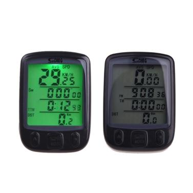 Drahtlose Bike Fahrrad Radfahren Computer Tacho Tachometer LCD-Hintergrundbeleuchtung Backlit wasserdicht Multifunktions Schwarz