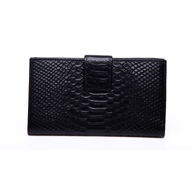 Fashion Women Genuine Leather Purse Crocodile Pattern Candy Color Clutch Bag Wallet Black