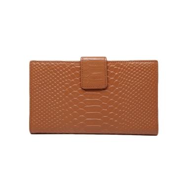 Fashion Women Genuine Leather Purse Crocodile Pattern Candy Color Clutch Bag Wallet Khaki