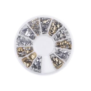 Anself 6 Styles Silber / Gold Glitter Nail Art 3D Strass Edelstein-Dekoration-Rad