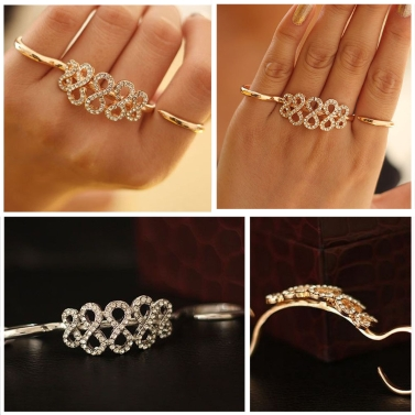 Korean Fashion Rings Double Refers Opening Personalized Ring Crystal Flower Ring