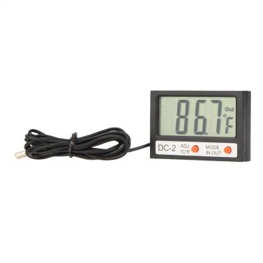 Medidor de temperatura de interior al aire libre Mini LCD Digital termómetro ℃/℉ reloj w / sonda