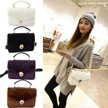 New Fashion Women Handbag Faux Fur Twist Lock Top Handle PU Leather Crossbody Shoulder Bag Tote