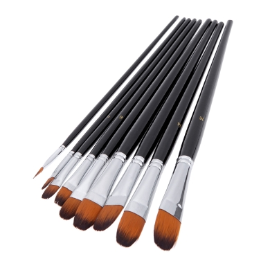 9pcs Nylon Hair Paint Brush Set Filbert Head Wooden Handle Artists Gouache Watercolor Acrylic Brushes Art Supplies