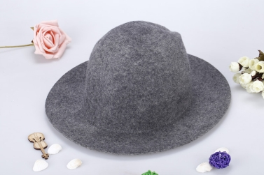 Fashion Unisex Wool Fedora Hat Trilby Crown Cap Wide Brim Bowler Derby Headwear Floppy Bucket Hat Black
