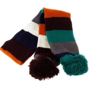 Colorful Strips Scarf with Two Rose & Blue Balls