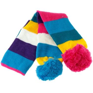 Bunte Streifen-Schal mit zwei stieg & blaue Bälle