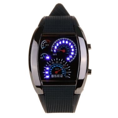 Diseño Medidor del coche Dial Unisex Azul flash Dot Matrix LED Racling reloj de carreras Negro