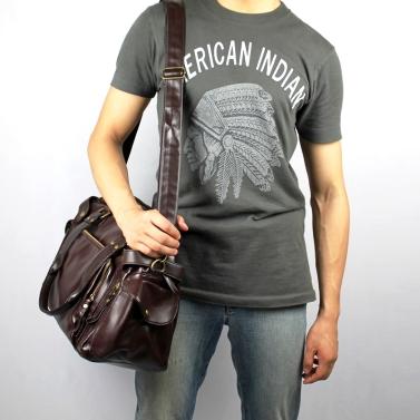 Herren Mode PU Leder Gym Duffle Satchel Schulter Travel Bag Handtasche schwarz