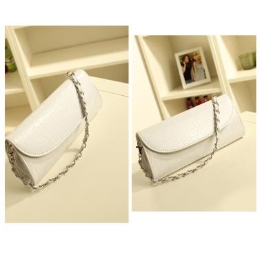 Krokodil Muster Kette kleine Handtasche / Schulter Crossbody Handtasche / Brieftasche weiß