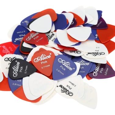 Alice AP-100P 100pcs 0.58mm/0.71mm/0.81mm Guitar Picks Plectrums Smooth ABS