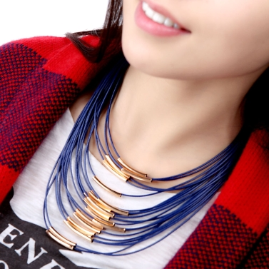 Fashion Exaggerated Personality Multi-layer String Chain Rope Tassel Colar Necklace for Woman